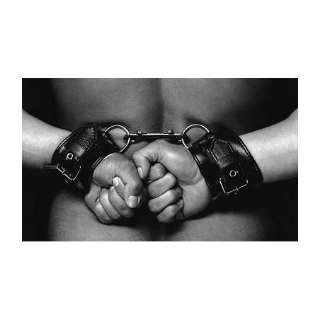 Leather handcuffs with buckles DARK-INK